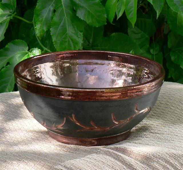 Raku Bowl with Copper Thorns Small