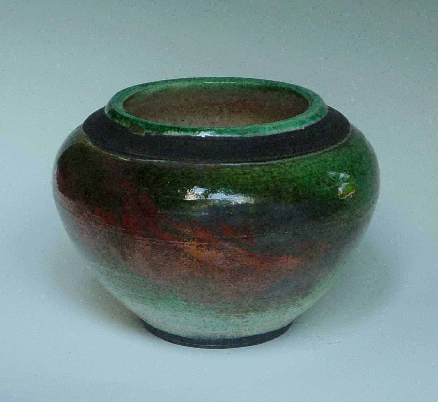 Raku Copper Green Bowl
