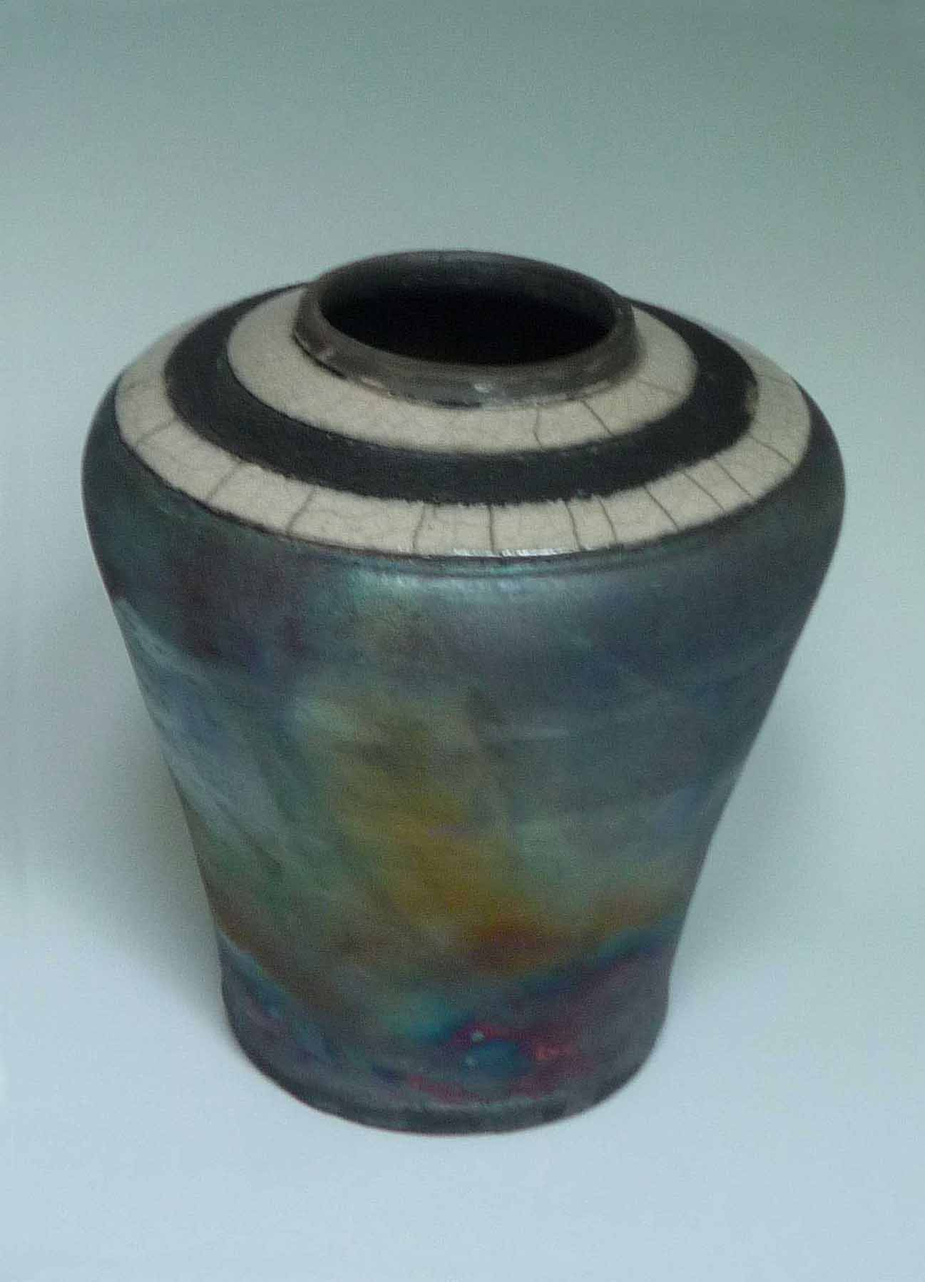 Raku Hawiian Copper Blue Vase