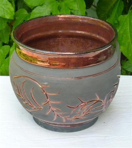 Raku Vase with Copper Thorns Small