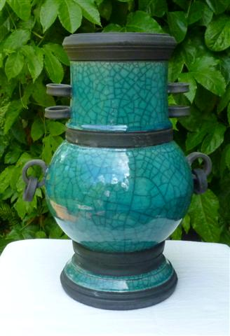 Raku Vase with Rings Small